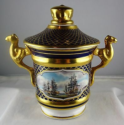 Rare Spode Fine Bone China Covered Jar Cobalt Gold, Nelson, Hand Painted Ships