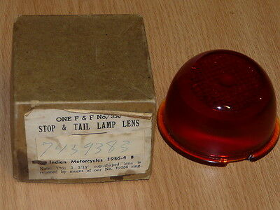 Vintage INDIAN Motorcycle 1936 - 4 8  F & F No. 356 Glass Stop & Tail Lamp Lens