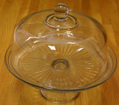 NEW Anchor Hocking Canton Clear Glass Cake Plate with Dome Cover Lid