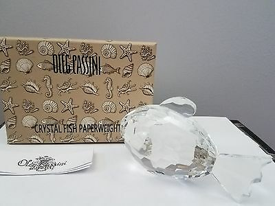 Oleg Cassini Crystal Fat Fish Clear Paperweight New in Box