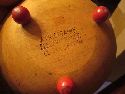 VINTAGE FRIGIDAIRE ELECTRIC RANGE ADVERTISING Footed Wooden Dough Bowl RED FEET