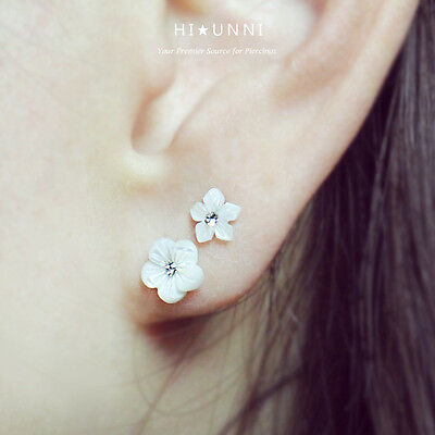16g Mother of pearl flower cartilage earring, helix conch tragus ear stud, 1pc