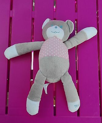 DOUDOU OURS MUSTI MUSTELA gris et rose pois - NEUF
