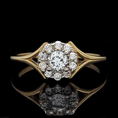 1/2CT Created Diamond Halo Cluster Engagement Ring 14K Solid Yellow Gold Band
