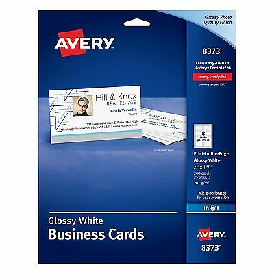 Avery Glossy Photo Quality Business Cards for InkJet Printers 8373