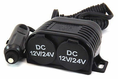 12V Power Socket Twin 2 cavity with covers fused plug coiled cable 1.5M extended