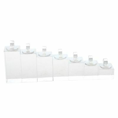 Set of 7 clip ring acrylic display stand jewelry holder Riser T8