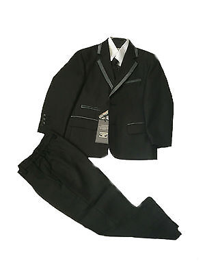 New Boys Formal Suits Black 5 Piece Set,size 1 Years To 16 Years