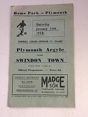Plymouth Argyle v Swindon Town  1957-58 (Div 3 South)
