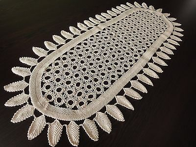 Fine Vintage Handmade Cotton Crochet Ecru Oval Tablecloth