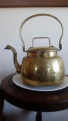 Antique Large Brass Gooseneck Teapot With Copper Fittings, Handcrafted