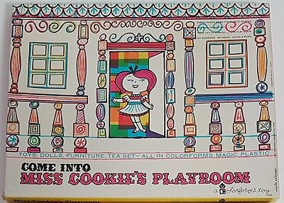 Colorforms Toy Playset Come Into Miss Cookie's Playroom Vintage 1961 Boxed Set