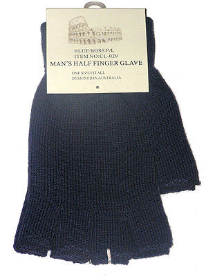 Brand New With Tags Mens Navy Fingerless Gloves