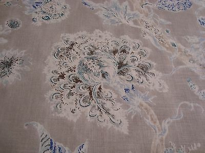 One Yd HODSOLL McKENZIE ROYAL FLORAL 100% LINEN UPHOLSTERY FABRIC Blue Gray BTY