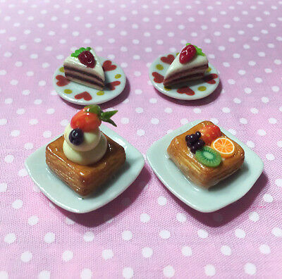 Dollhouse Miniature Handcraft Carrot Cake And Fruit Pie With Cute Heart Plate
