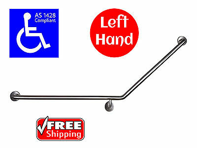 40° Angle Grab Bar Left Hand As1428.1 Safety Rail Disabled Toilet Wheelchair
