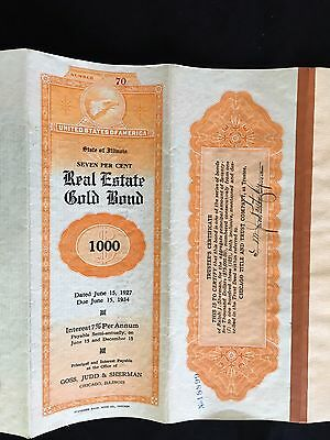 Vintage 7 % Real Estate Gold Bond $1000 Demonination State Of Illinios