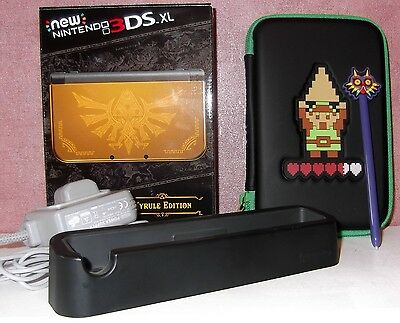 New Nintendo 3DS XL Hyrule Edition BOXED UK Pal + Charger & Zelda Case & Cradle