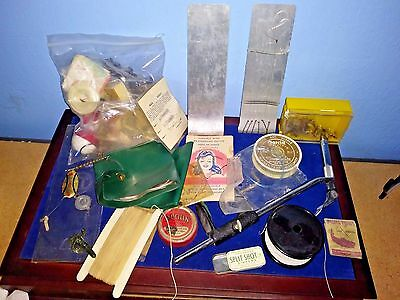 Vintage Lot Fly Tying Vise/Clamp Hooks Gear Bobbers Lures Reel Parts Lines Flies