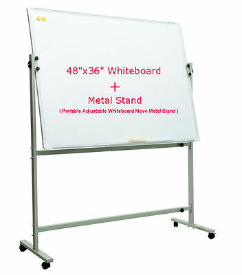 "48""x36"" Single Side Magnetic Whiteboard+Portable Adjustable Move Metal Stand"