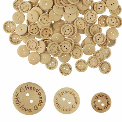 Handmade With Love Natural Wooden Round Buttons With 2 Holes 3 Sizes -15/20/25mm