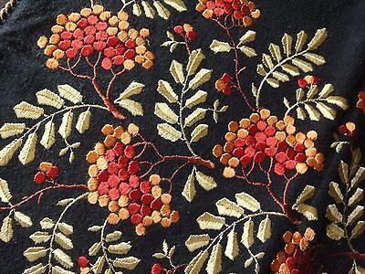 Beautiful Vintage Woolen /  Cotton Black Pillowcase with Multi-Color Embroidery