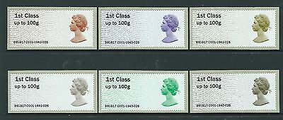Great Britain 2017 The Machin Anniversary Post And Go Set Of 6  Unmounted Mint