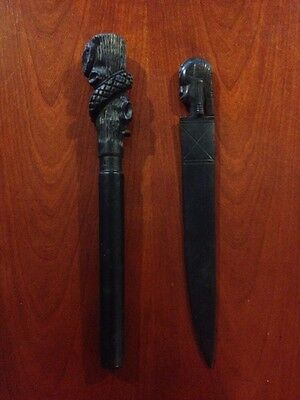 Antique 19th Century African Carved Black Etched Black Knife Tribal Tribe Lot