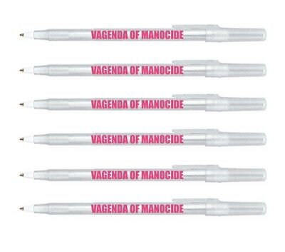 VAGENDA OF MANOCIDE Clear Sparkle Pen Pack - 6 Pens liberal feminist women pink