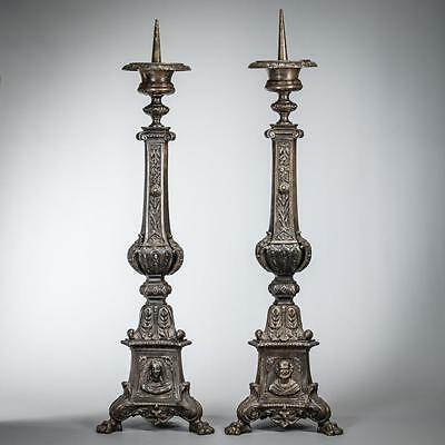"28"" Large Pair of Stunning Bronzed Spelter Church Candlesticks Jesus Mary Joseph"