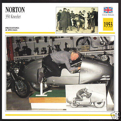 1953 Norton 350cc Kneeler Sammy Miller Ray Amm Race Motorcycle Photo Spec Card