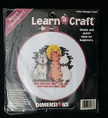 Simple Yarn Needlepoint Craft for Beginners Cats at Night on a Wall Unopened
