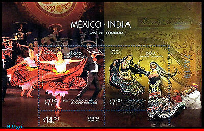 10-7 Mexico 2010 JOINT ISSUE WITH INDIA, DANCE, MUSIC, BALLET,SOUVENIR SHEET MNH