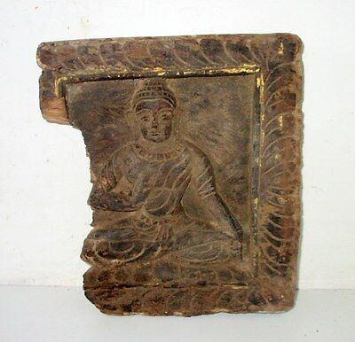 Antique Old Hand Carved Wooden Hindu God Buddha Wall Small Figure Plaque Penal