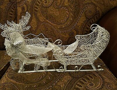 Tabletop Sleigh Silver Wire Metal Christmas Reindeer Sled Large Decorative