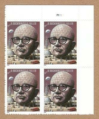3870 - 37¢ R Buckminster FULLER - Plate Block of 4 - MNH