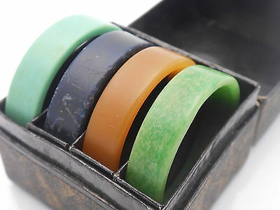 Vintage Deco Period Early Plastic Napkin Rings Set - Boxed