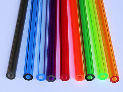 "9 COLORS 1/2"" OD x 1/4"" ID CLEAR ACRYLIC TUBE RED BLUE GREEN PURPLE ORANGE AMBER"