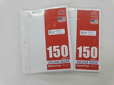 """NORCOM 150 Sheets College Ruled Notebook Paper 10 1/2"""" x 8"""" New Lot of 2"""