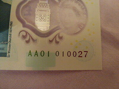 Polymer £5 note,mint,extremely low serial number AA01 010027