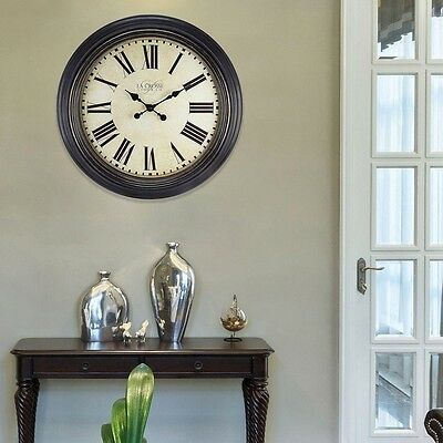Large 23 in. Round Antique Dial Analog Wall Clock Roman Numerals Metal Hands
