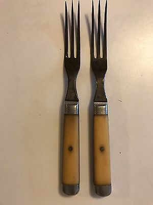 2 Antique Civil War Era 3 Prong Forks W/ Bone Handles