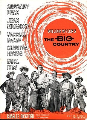 THE BIG COUNTRY pressbook, Gregory Peck, Jean Simmons, Charlton Heston