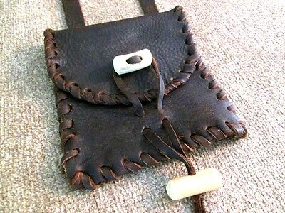 Reenactment Mountain Man Leather Possibles Bag w/Laced Edge & Antler Buttons