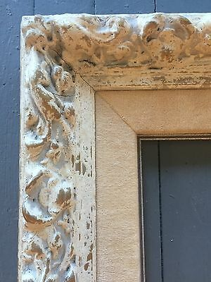 Antique Wood frame Carved french ornate 16 X 20 Whitewashed
