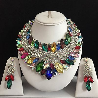 Multi Silver Indian Costume Jewellery Necklace Earrings Crystal Set Bridal New
