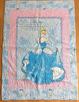 Cinderella Quilted Throw Blanket Double Sided Thick Warm Blue Floral Disney NICE