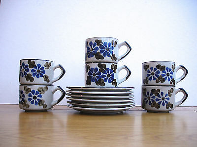 1980s Vintage Hand Painted Coffee Set Coffee Cups Saucers Set 6 Hand Painted