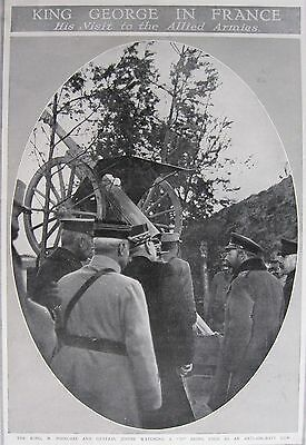 WW1 King George V Inspects Artillery In France The Graphic Weekly Halftone Photo