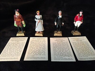 Lot Of 4 Marx 1960s 60mm Lipton Tea Famous Canadians Plastic Figures With Cards